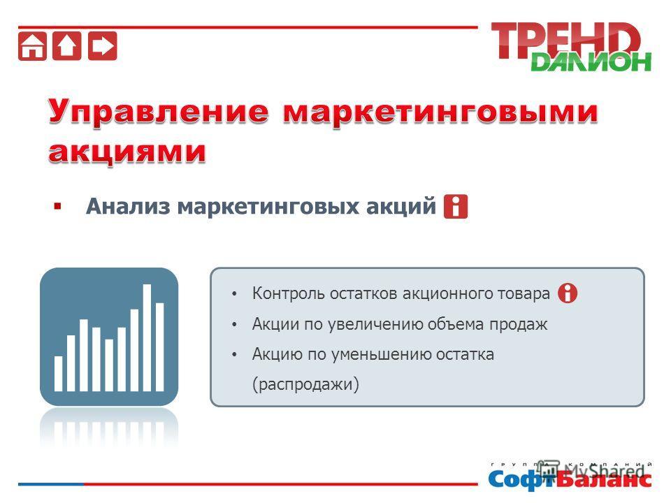 Анализ маркетинговых акций Контроль остатков акционного товара Акции по увеличению объема продаж Акцию по уменьшению остатка (распродажи)