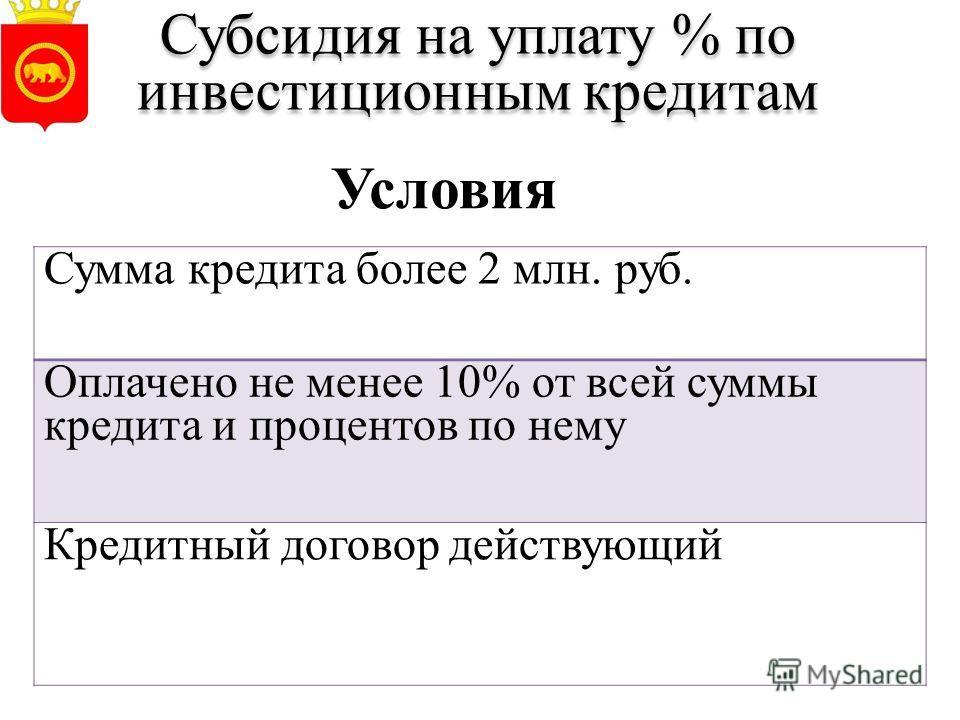 Субсидия на уплату % по инвестиционным кредитам Сумма кредита более 2 млн. руб. Оплачено не менее 10% от всей суммы кредита и процентов по нему Кредитный договор действующий Условия