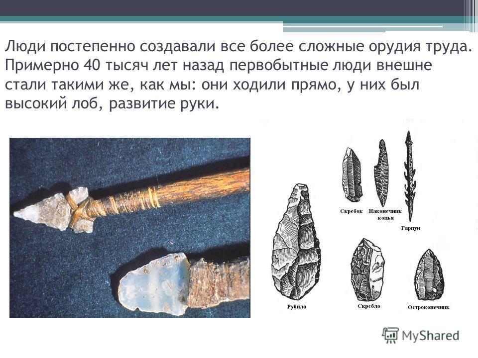 Люди постепенно создавали все более сложные орудия труда. Примерно 40 тысяч лет назад первобытные люди внешне стали такими же, как мы: они ходили прямо, у них был высокий лоб, развитие руки.