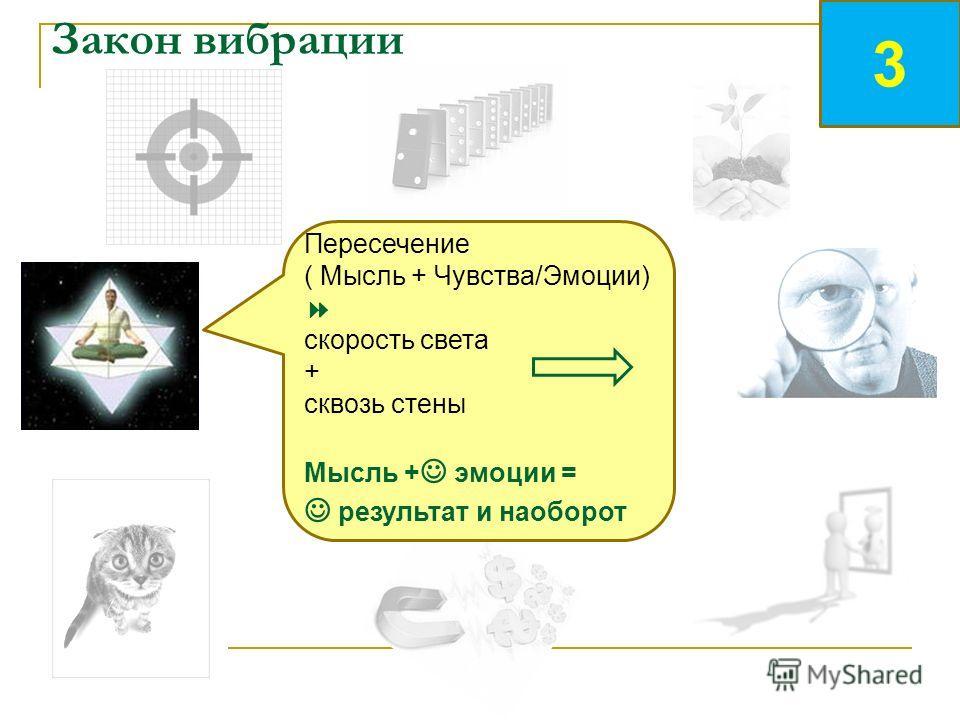 Закон вибрации Пересечение ( Мысль + Чувства/Эмоции) скорость света + сквозь стены Мысль + эмоции = результат и наоборот 3