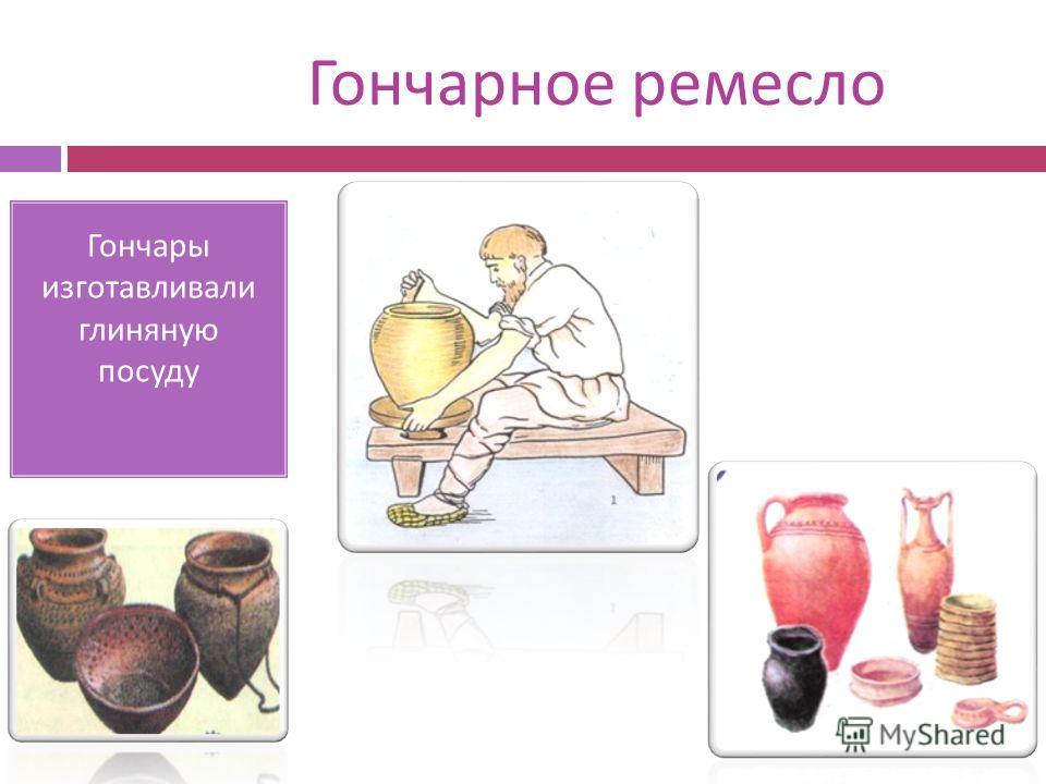 Гончарное ремесло Гончары изготавливали глиняную посуду