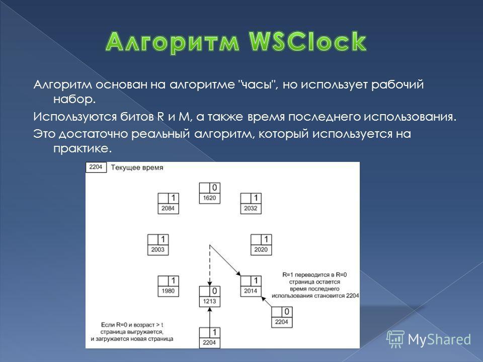 Алгоритм основан на алгоритме часы, но использует рабочий набор. Используются битов R и M, а также время последнего использования. Это достаточно реальный алгоритм, который используется на практике.