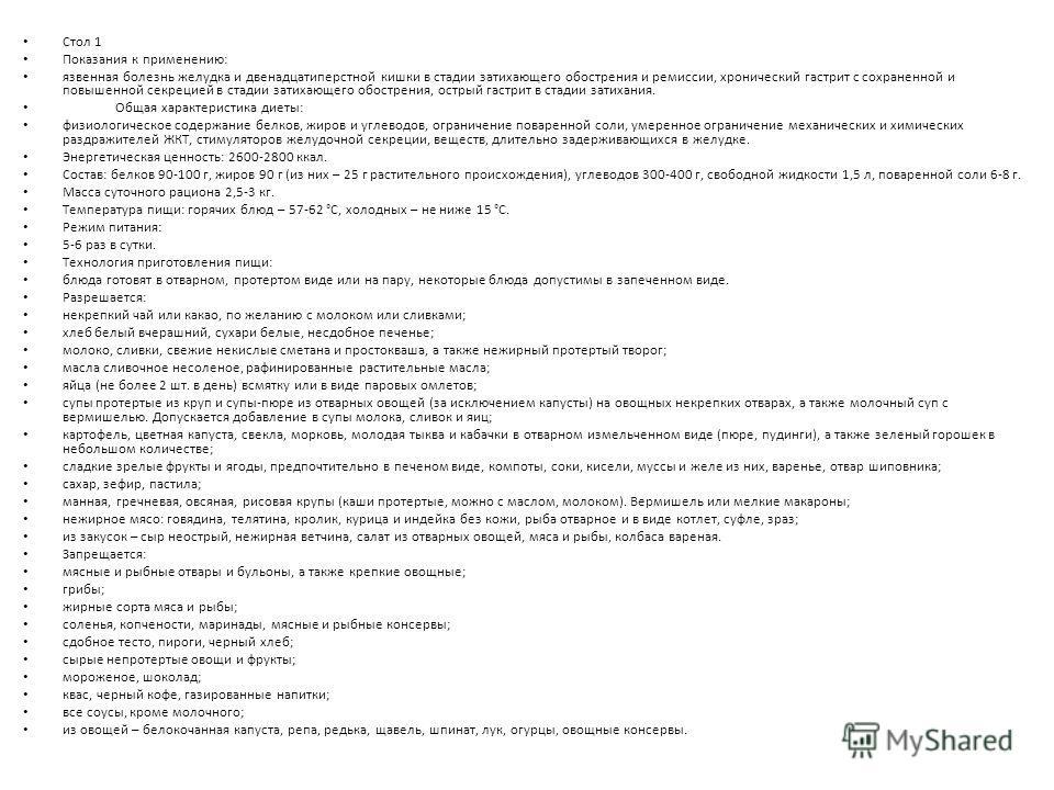 Стол 1 Показания к применению: язвенная болезнь желудка и двенадцатиперстной кишки в стадии затихающего обострения и ремиссии, хронический гастрит с сохраненной и повышенной секрецией в стадии затихающего обострения, острый гастрит в стадии затихания