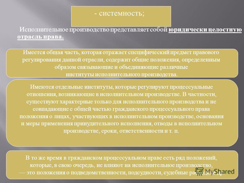 Исполнительное производство представляет собой юридически целостную отрасль права. - системность ; Имеется общая часть, которая отражает специфический предмет правового регулирования данной отрасли, содержит общие положения, определенным образом связ