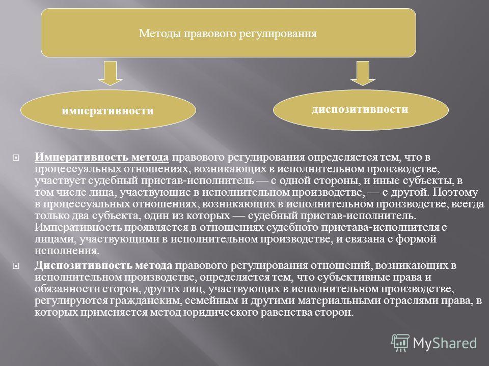 Императивность метода правового регулирования определяется тем, что в процессуальных отношениях, возникающих в исполнительном производстве, участвует судебный пристав - исполнитель с одной стороны, и иные субъекты, в том числе лица, участвующие в исп