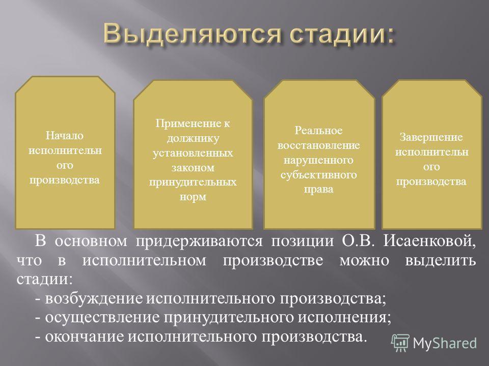 В основном придерживаются позиции О. В. Исаенковой, что в исполнительном производстве можно выделить стадии : - возбуждение исполнительного производства ; - осуществление принудительного исполнения ; - окончание исполнительного производства. Начало и