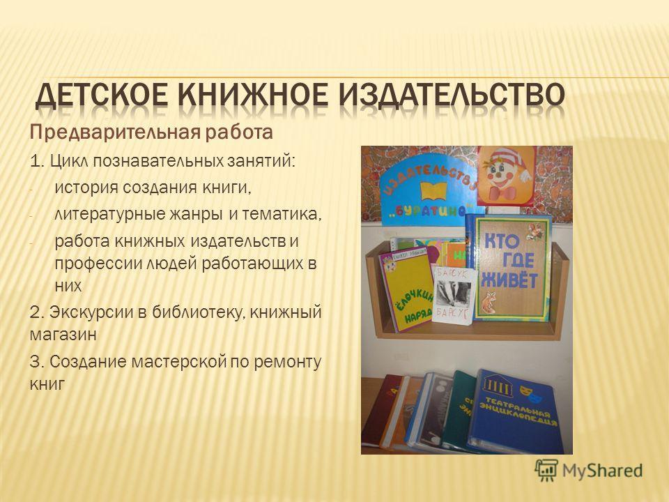 Предварительная работа 1. Цикл познавательных занятий: - история создания книги, - литературные жанры и тематика, - работа книжных издательств и профессии людей работающих в них 2. Экскурсии в библиотеку, книжный магазин 3. Создание мастерской по рем