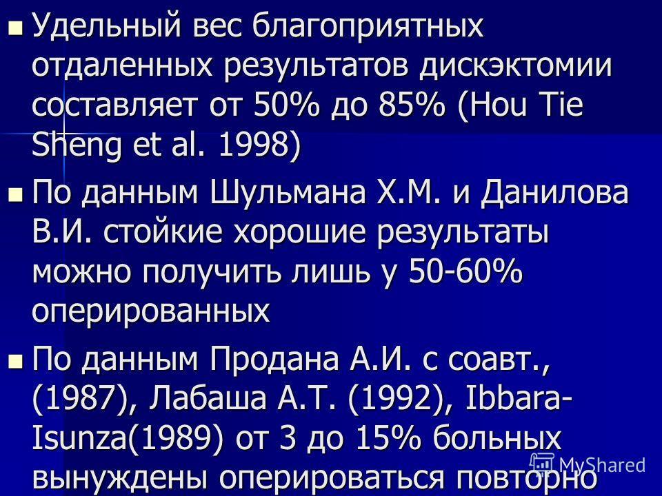 Удельный вес благоприятных отдаленных результатов дискэктомии составляет от 50% до 85% (Hou Tie Sheng et al. 1998) Удельный вес благоприятных отдаленных результатов дискэктомии составляет от 50% до 85% (Hou Tie Sheng et al. 1998) По данным Шульмана Х