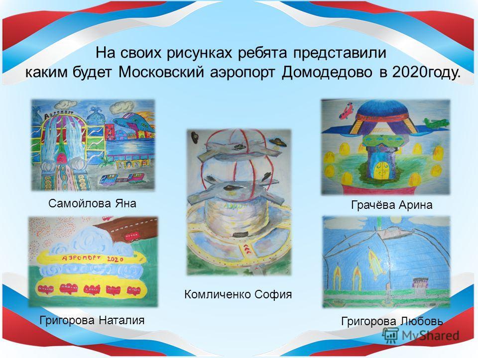На своих рисунках ребята представили каким будет Московский аэропорт Домодедово в 2020 году. Самойлова Яна Комличенко София Григорова Любовь Григорова Наталия Грачёва Арина