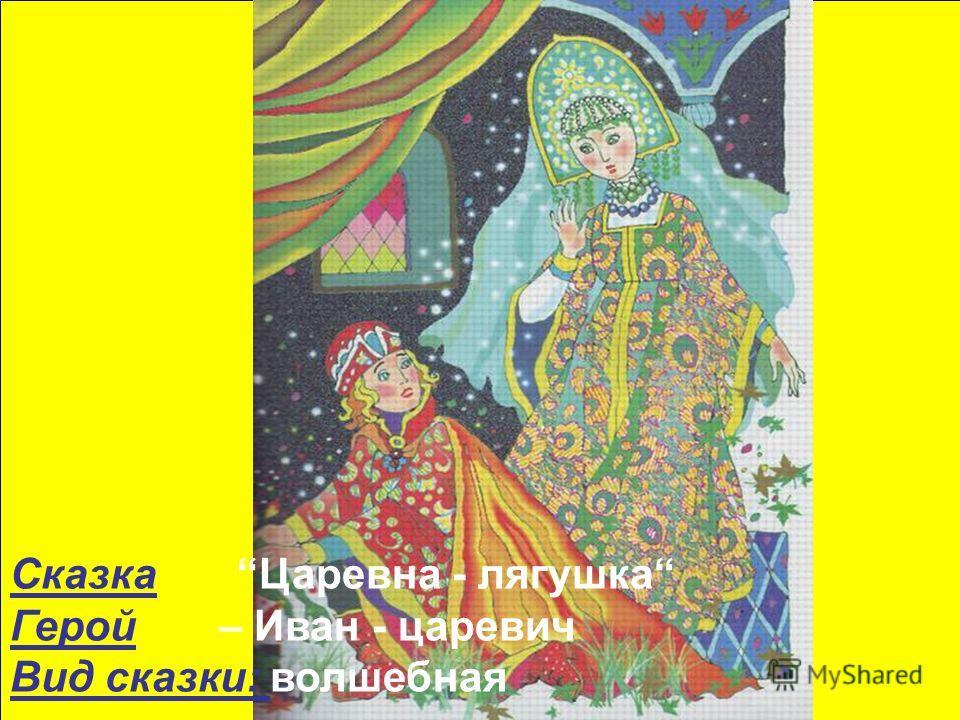 Сказка Царевна - лягушка Герой – Иван - царевич Вид сказки: волшебная