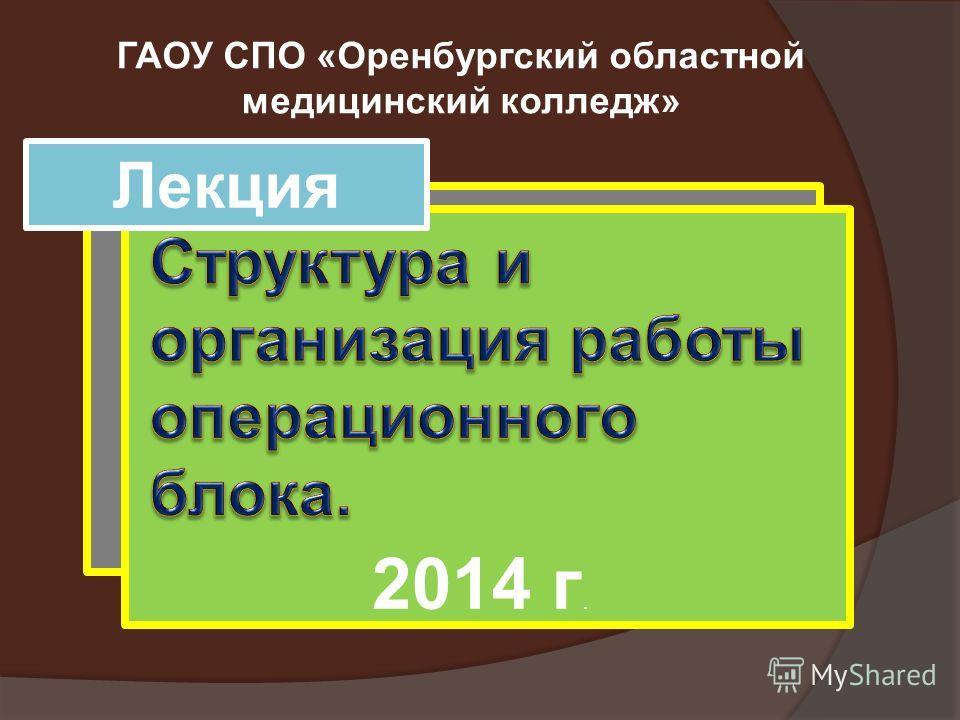 Лекция ГАОУ СПО «Оренбургский областной медицинский колледж» 2014 г.