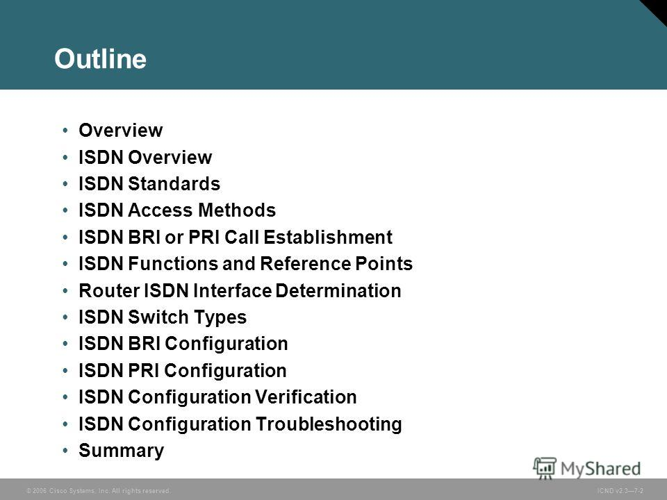 © 2006 Cisco Systems, Inc. All rights reserved. ICND v2.37-2 Outline Overview ISDN Overview ISDN Standards ISDN Access Methods ISDN BRI or PRI Call Establishment ISDN Functions and Reference Points Router ISDN Interface Determination ISDN Switch Type