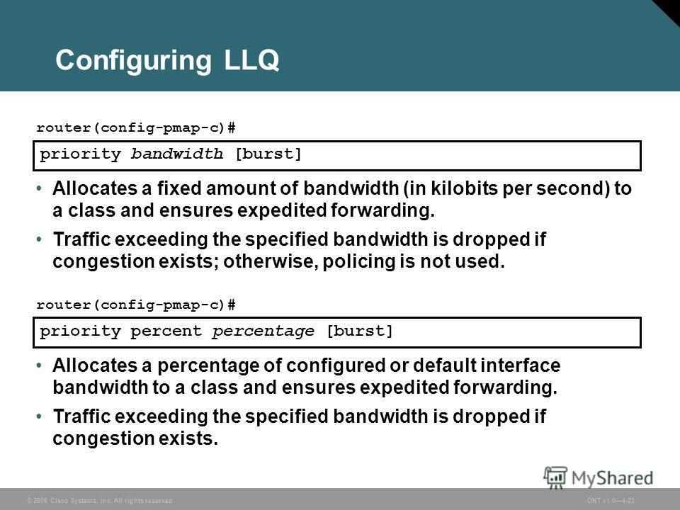 © 2006 Cisco Systems, Inc. All rights reserved.ONT v1.04-23 Configuring LLQ priority bandwidth [burst] router(config-pmap-c)# Allocates a fixed amount of bandwidth (in kilobits per second) to a class and ensures expedited forwarding. Traffic exceedin