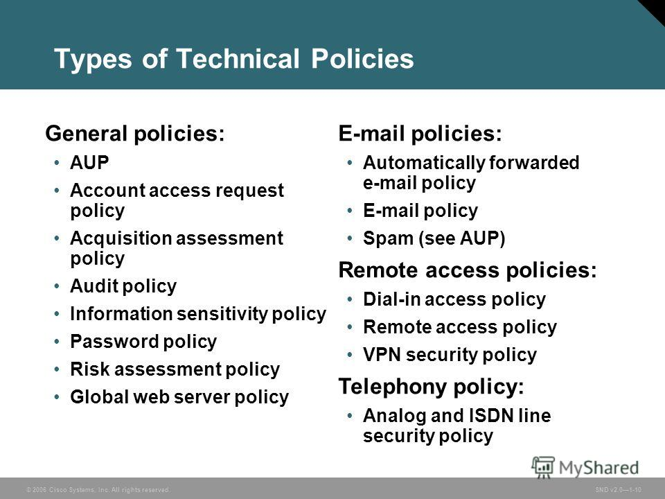 © 2006 Cisco Systems, Inc. All rights reserved. SND v2.01-10 Types of Technical Policies General policies: AUP Account access request policy Acquisition assessment policy Audit policy Information sensitivity policy Password policy Risk assessment pol