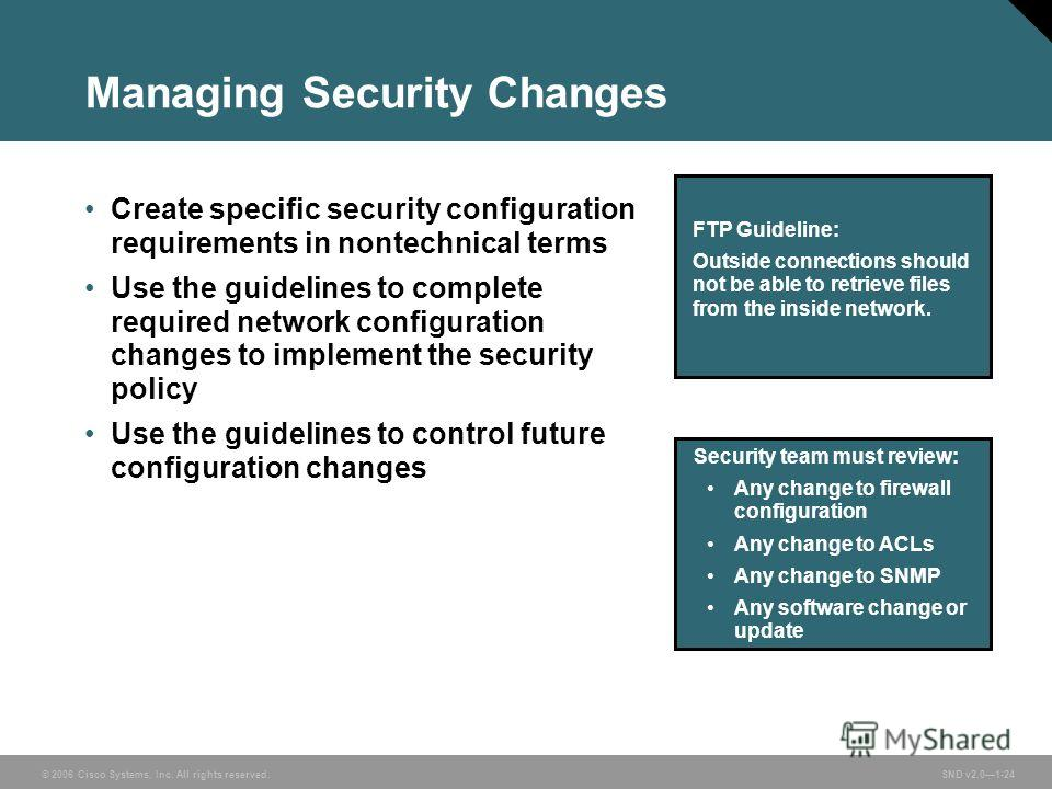 © 2006 Cisco Systems, Inc. All rights reserved. SND v2.01-24 Managing Security Changes Create specific security configuration requirements in nontechnical terms Use the guidelines to complete required network configuration changes to implement the se