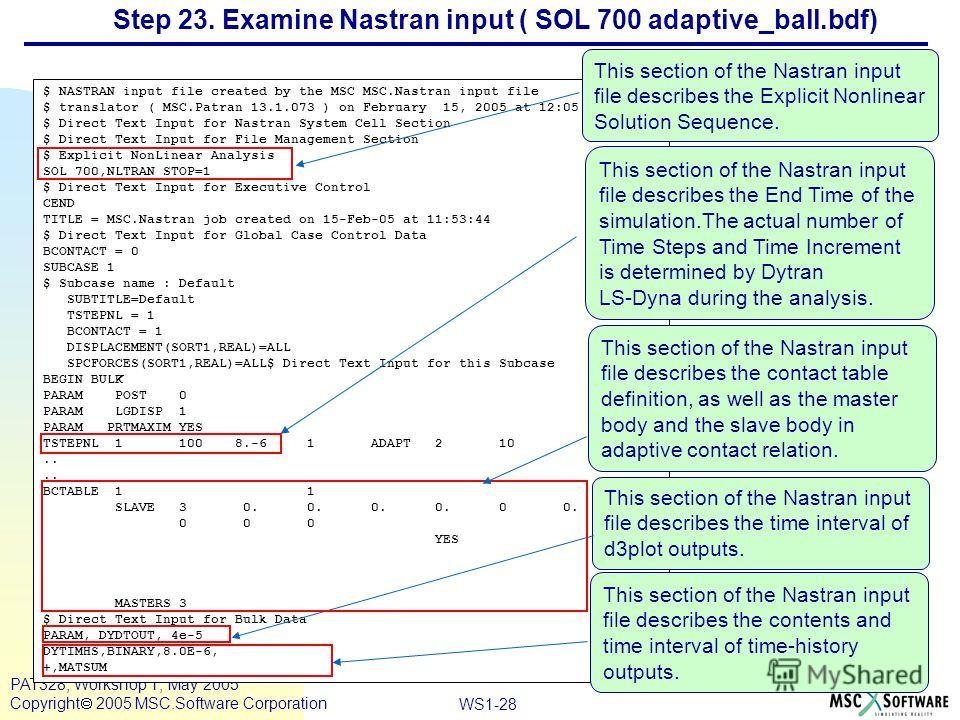 Mar120, Workshop 10, March 2001 WS1-28 PAT328, Workshop 1, May 2005 Copyright 2005 MSC.Software Corporation $ NASTRAN input file created by the MSC MSC.Nastran input file $ translator ( MSC.Patran 13.1.073 ) on February 15, 2005 at 12:05:02. $ Direct