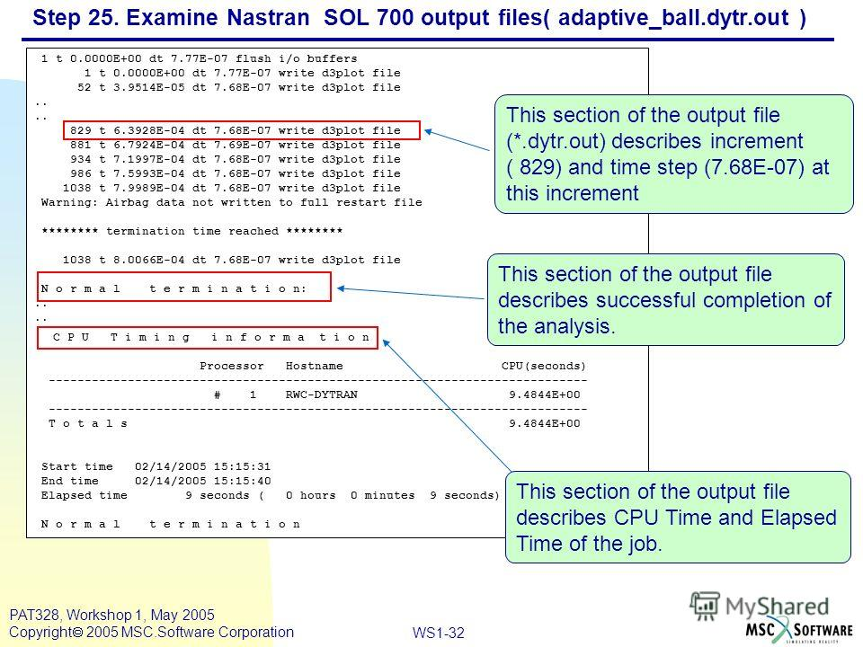 Mar120, Workshop 10, March 2001 WS1-32 PAT328, Workshop 1, May 2005 Copyright 2005 MSC.Software Corporation Step 25. Examine Nastran SOL 700 output files( adaptive_ball.dytr.out ) 1 t 0.0000E+00 dt 7.77E-07 flush i/o buffers 1 t 0.0000E+00 dt 7.77E-0