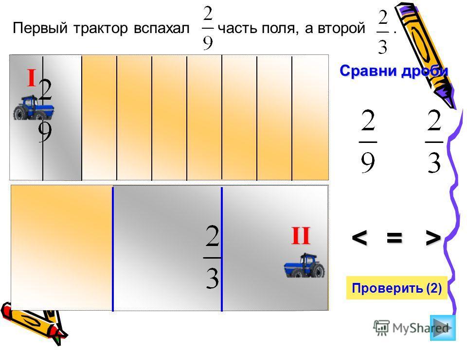 Первый трактор вспахал часть поля, а второй. Сравни дроби >=< Проверить (2) I II