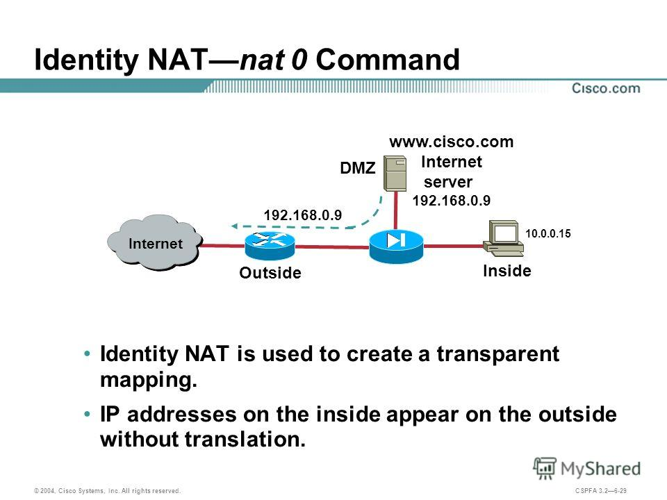 © 2004, Cisco Systems, Inc. All rights reserved. CSPFA 3.26-29 Identity NATnat 0 Command Identity NAT is used to create a transparent mapping. IP addresses on the inside appear on the outside without translation. Internet Inside Outside 10.0.0.15 DMZ