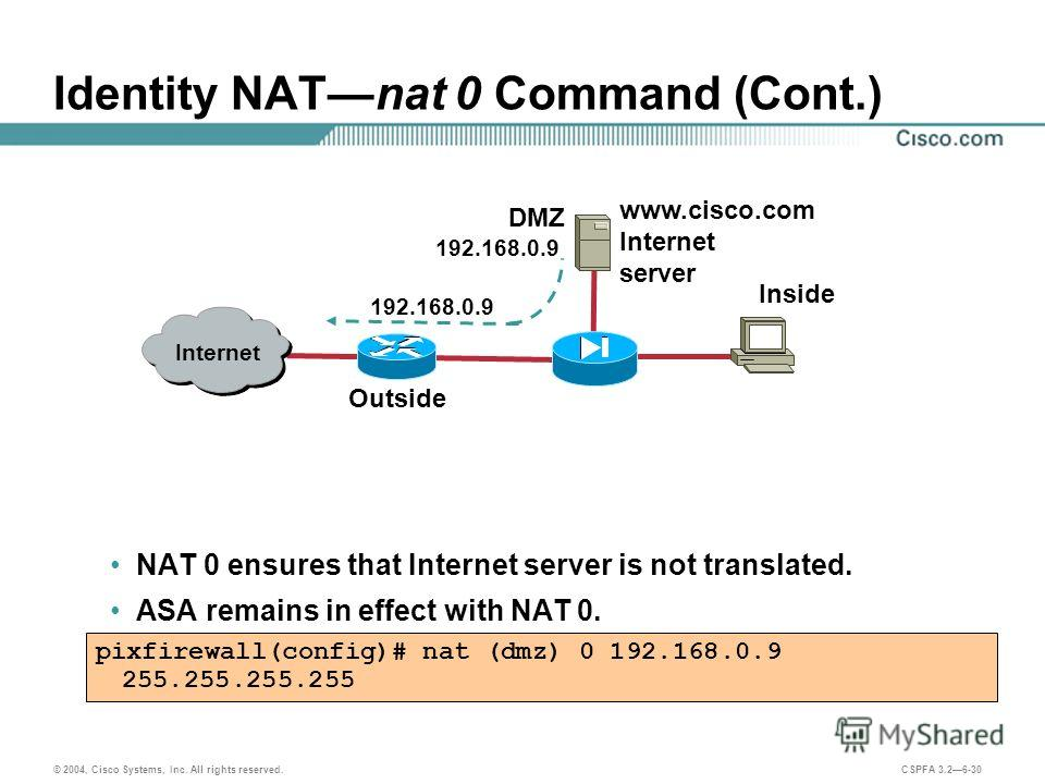 © 2004, Cisco Systems, Inc. All rights reserved. CSPFA 3.26-30 Identity NATnat 0 Command (Cont.) NAT 0 ensures that Internet server is not translated. ASA remains in effect with NAT 0. pixfirewall(config)# nat (dmz) 0 192.168.0.9 255.255.255.255 Inte