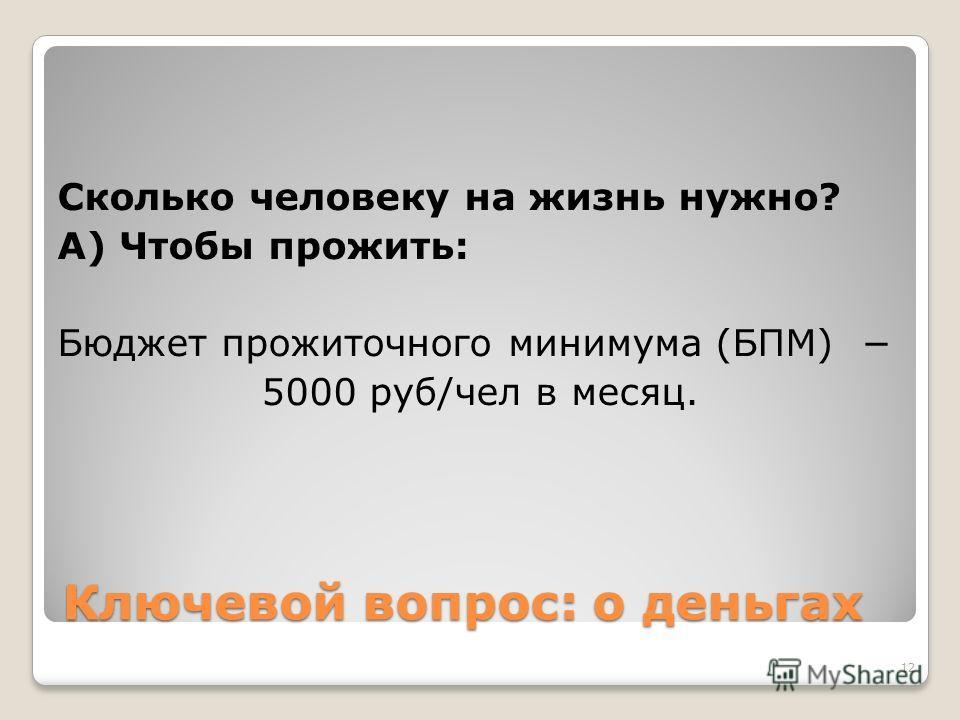 Ключевой вопрос: о деньгах Сколько человеку на жизнь нужно? А) Чтобы прожить: Бюджет прожиточного минимума (БПМ) 5000 руб/чел в месяц. 12