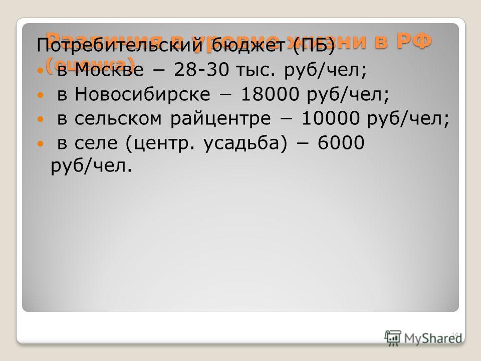 Различия в уровне жизни в РФ (оценка) Потребительский бюджет (ПБ) в Москве 28-30 тыс. руб/чел; в Новосибирске 18000 руб/чел; в сельском райцентре 10000 руб/чел; в селе (центр. усадьба) 6000 руб/чел. 14