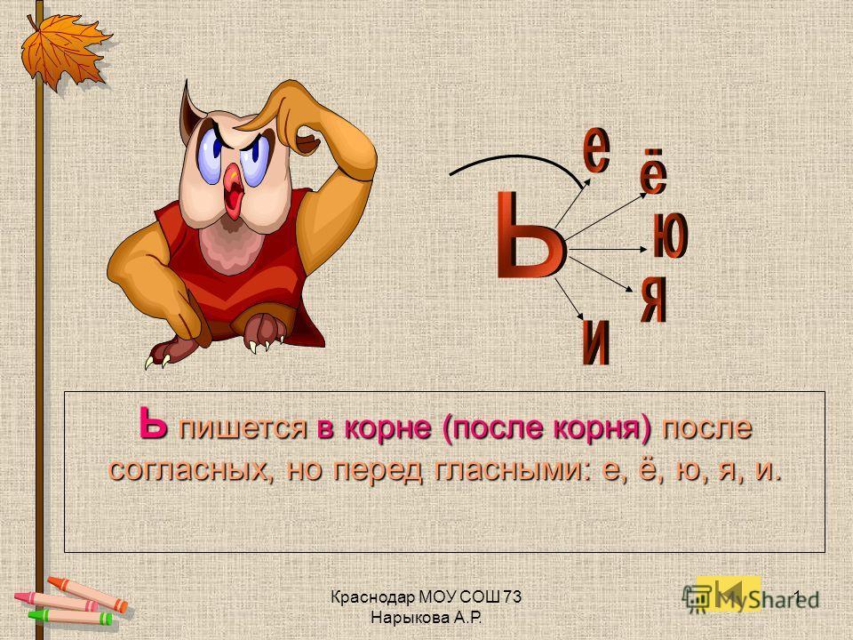 Краснодар МОУ СОШ 73 Нарыкова А.Р. 1 Ь пишется в корне (после корня) после согласных, но перед гласными: е, ё, ю, я, и.