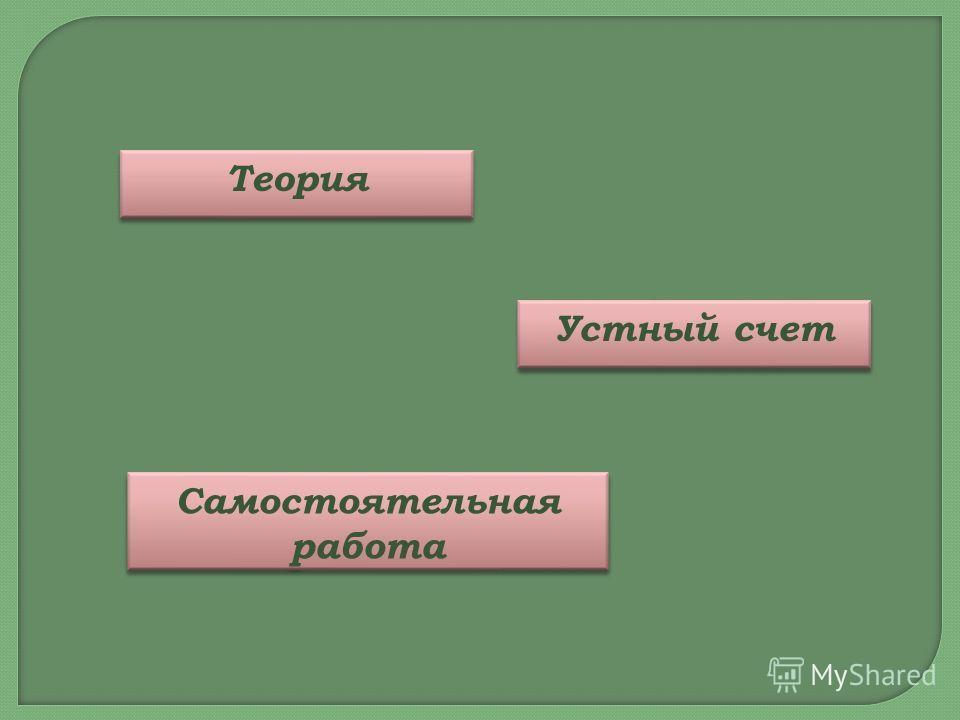 Самостоятельная работа Самостоятельная работа Устный счет Теория