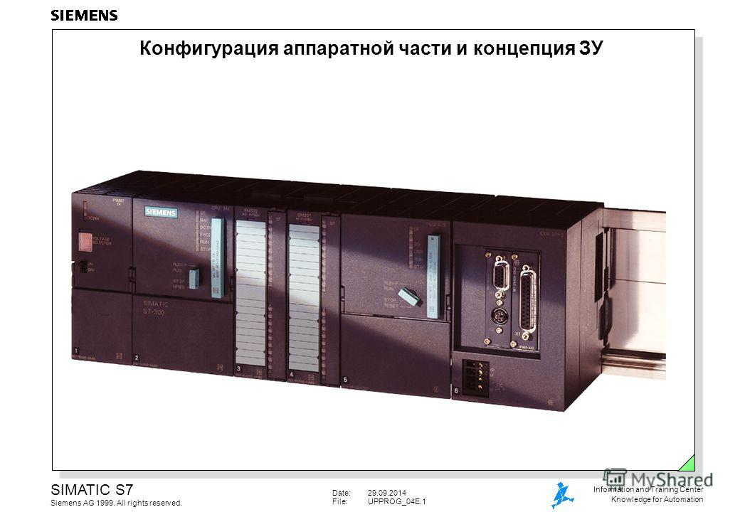 Date:29.09.2014 File:UPPROG_04E.1 SIMATIC S7 Siemens AG 1999. All rights reserved. Information and Training Center Knowledge for Automation Конфигурация аппаратной части и концепция ЗУ