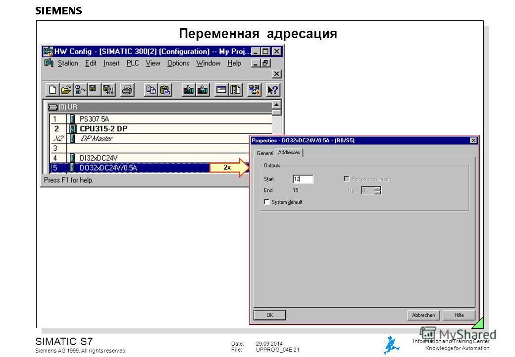 Date:29.09.2014 File:UPPROG_04E.21 SIMATIC S7 Siemens AG 1999. All rights reserved. Information and Training Center Knowledge for Automation Переменная адресация 2x
