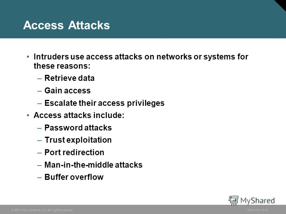 © 2006 Cisco Systems, Inc. All rights reserved.ISCW v1.05-16 Access Attacks Intruders use access attacks on networks or systems for these reasons: –Retrieve data –Gain access –Escalate their access privileges Access attacks include: –Password attacks