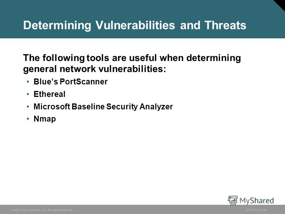 © 2006 Cisco Systems, Inc. All rights reserved.ISCW v1.05-47 Determining Vulnerabilities and Threats The following tools are useful when determining general network vulnerabilities: Blues PortScanner Ethereal Microsoft Baseline Security Analyzer Nmap