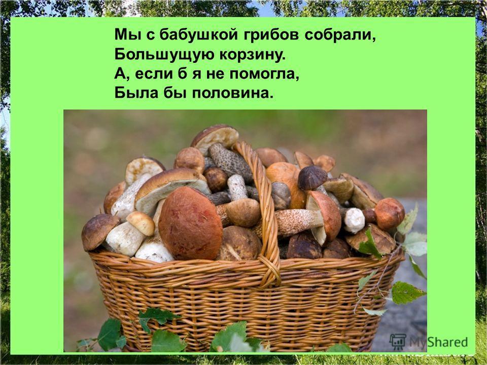 Мы с бабушкой грибов собрали, Большущую корзину. А, если б я не помогла, Была бы половина.