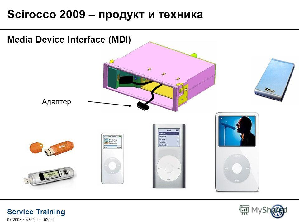 Service Training 07/2008 VSQ-1 102/91 Адаптер Media Device Interface (MDI) Scirocco 2009 – продукт и техника