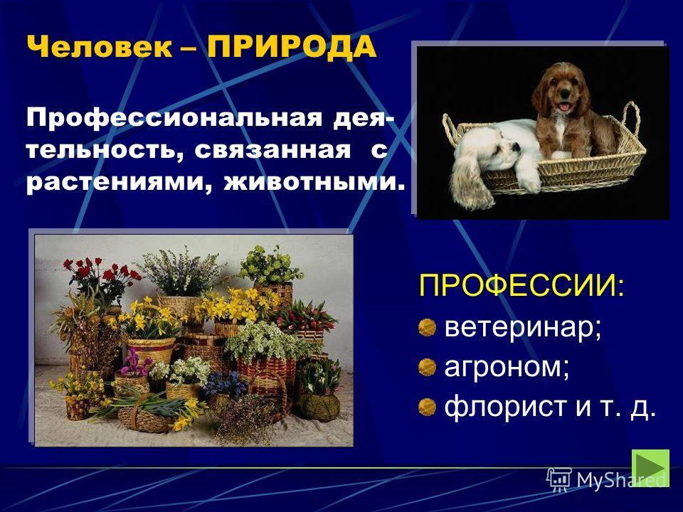 Человек – ПРИРОДА Профессиональная дея- тельность, связанная с растениями, животными. ПРОФЕССИИ: ветеринар; агроном; флорист и т. д.