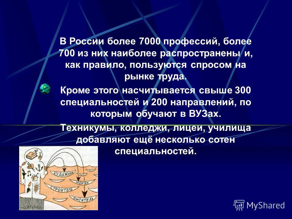 В России более 7000 профессий, более 700 из них наиболее распространены и, как правило, пользуются спросом на рынке труда. Кроме этого насчитывается свыше 300 специальностей и 200 направлений, по которым обучают в ВУЗах. Техникумы, колледжи, лицеи, у