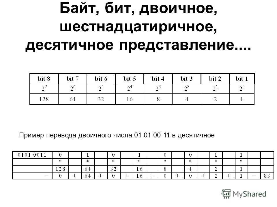 Пример перевода двоичного числа 01 01 00 11 в десятичное Байт, бит, двоичное, шестнадцатеричное, десятичное представление....