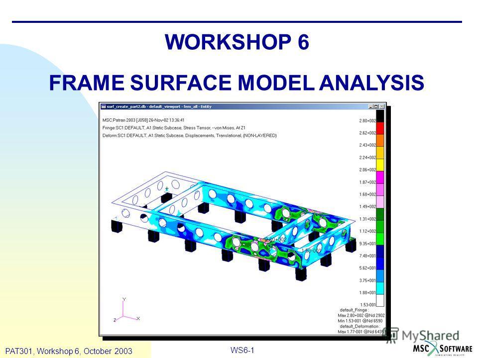 WS6-1 PAT301, Workshop 6, October 2003 WORKSHOP 6 FRAME SURFACE MODEL ANALYSIS