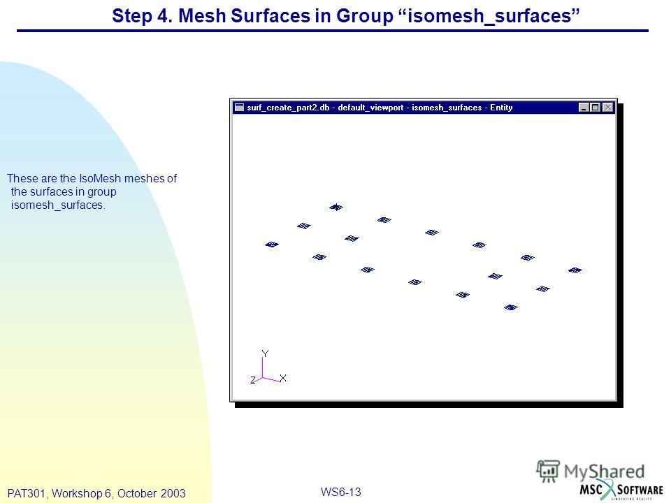 WS6-13 PAT301, Workshop 6, October 2003 Step 4. Mesh Surfaces in Group isomesh_surfaces These are the IsoMesh meshes of the surfaces in group isomesh_surfaces.