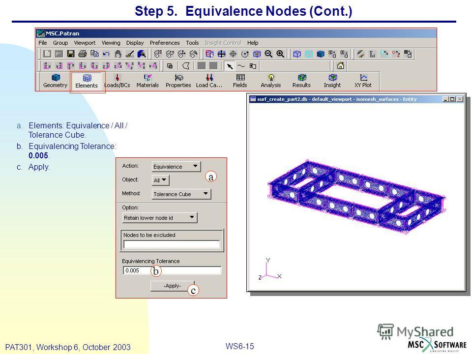 WS6-15 PAT301, Workshop 6, October 2003 Step 5. Equivalence Nodes (Cont.) a.Elements: Equivalence / All / Tolerance Cube. b.Equivalencing Tolerance: 0.005. c.Apply. a b c