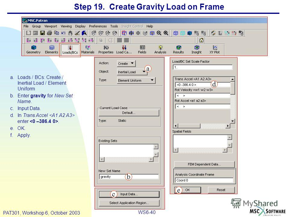WS6-40 PAT301, Workshop 6, October 2003 Step 19. Create Gravity Load on Frame a.Loads / BCs: Create / Inertial Load / Element Uniform b.Enter gravity for New Set Name. c.Input Data. d.In Trans Accel enter. e.OK. f.Apply. a b c d e