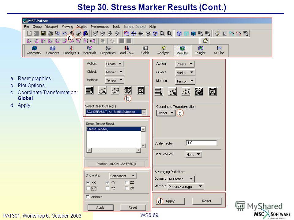 WS6-69 PAT301, Workshop 6, October 2003 a.Reset graphics. b.Plot Options. c.Coordinate Transformation: Global. d.Apply. a b c d Step 30. Stress Marker Results (Cont.)