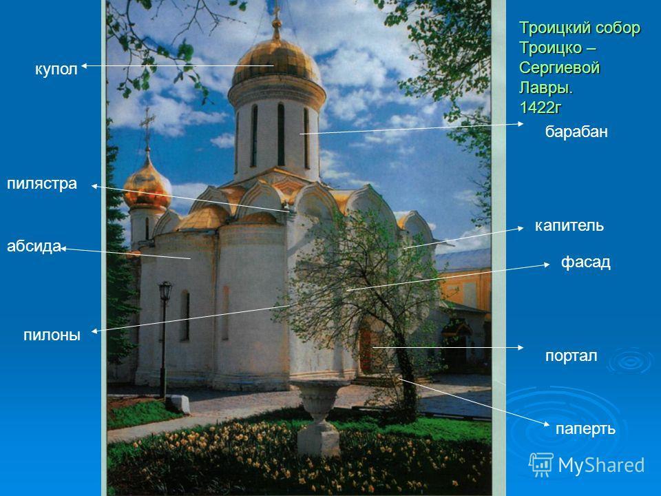 паперть фасад абсида портал капитель пилоны барабан купол пилястра Троицкий собор Троицко – Сергиевой Лавры. 1422 г
