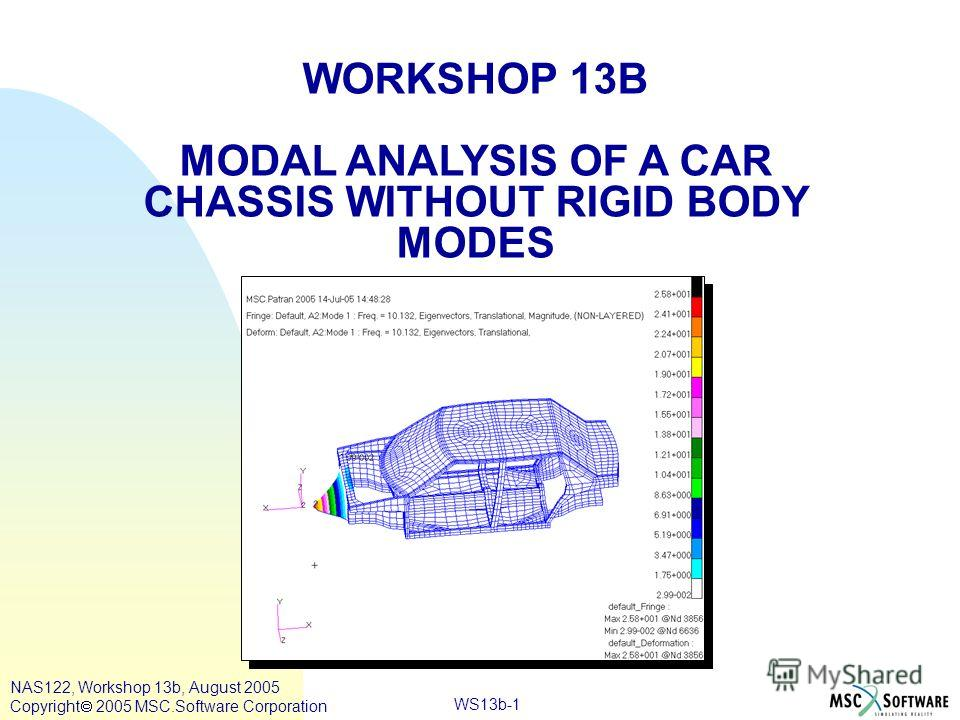 WS13b-1 WORKSHOP 13B MODAL ANALYSIS OF A CAR CHASSIS WITHOUT RIGID BODY MODES NAS122, Workshop 13b, August 2005 Copyright 2005 MSC.Software Corporation