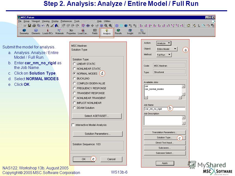 WS13b-6 NAS122, Workshop 13b, August 2005 Copyright 2005 MSC.Software Corporation Step 2. Analysis: Analyze / Entire Model / Full Run Submit the model for analysis. a.Analysis: Analyze / Entire Model / Full Run. b.Enter car_nm_no_rigid as the Job Nam