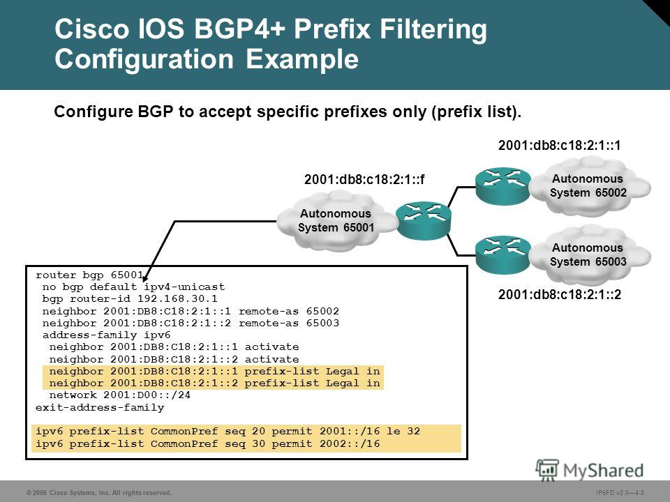 © 2006 Cisco Systems, Inc. All rights reserved.IP6FD v2.04-8© 2006 Cisco Systems, Inc. All rights reserved. Configure BGP to accept specific prefixes only (prefix list). router bgp 65001 no bgp default ipv4-unicast bgp router-id 192.168.30.1 neighbor