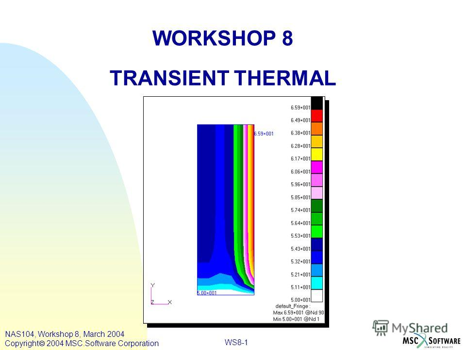 WS8-1 WORKSHOP 8 TRANSIENT THERMAL NAS104, Workshop 8, March 2004 Copyright 2004 MSC.Software Corporation