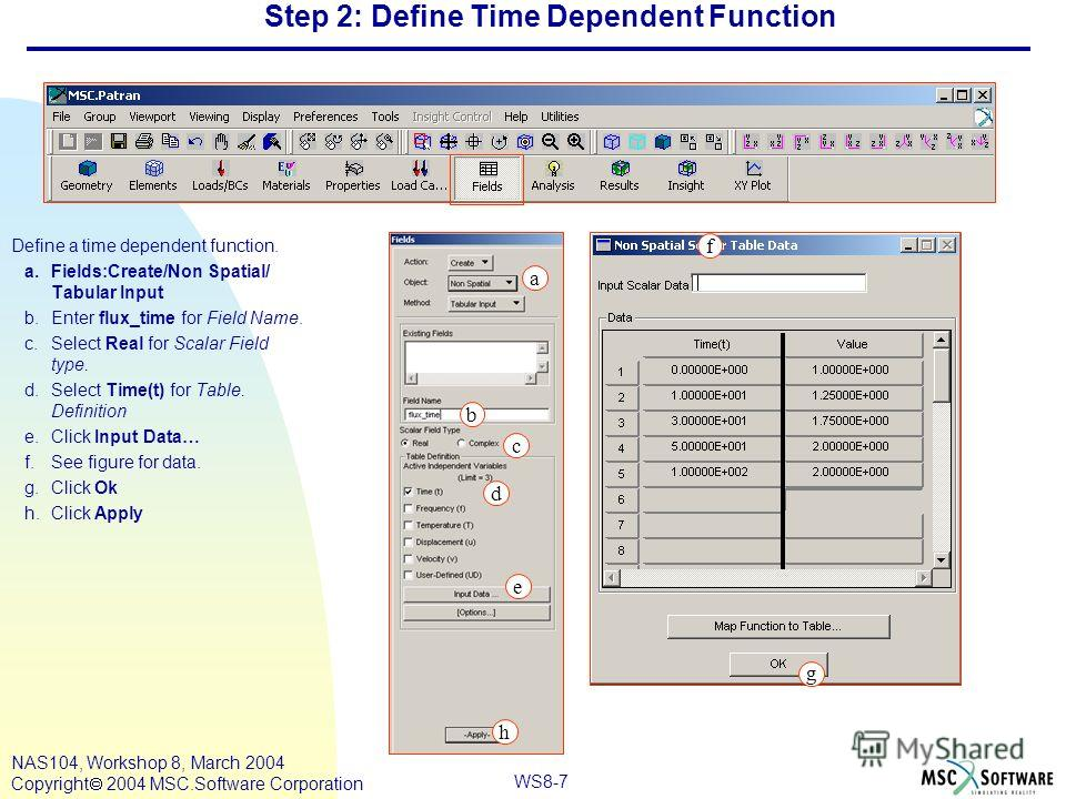 WS8-7 NAS104, Workshop 8, March 2004 Copyright 2004 MSC.Software Corporation Step 2: Define Time Dependent Function Define a time dependent function. a.Fields:Create/Non Spatial/ Tabular Input b.Enter flux_time for Field Name. c.Select Real for Scala