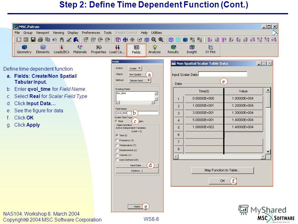 WS8-8 NAS104, Workshop 8, March 2004 Copyright 2004 MSC.Software Corporation Step 2: Define Time Dependent Function (Cont.) Define time dependent function a.Fields: Create/Non Spatial/ Tabular Input. b.Enter qvol_time for Field Name. c.Select Real fo