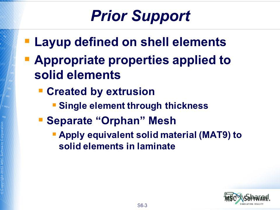 S6-3 Prior Support Layup defined on shell elements Appropriate properties applied to solid elements Created by extrusion Single element through thickness Separate Orphan Mesh Apply equivalent solid material (MAT9) to solid elements in laminate